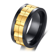 9mm - Unisex or Men's Stainless Steel Wedding Band. Black and Yellow Gold with Rotating Spinner Center Brick Style Ring