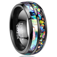 8mm - Unisex or Men's Tungsten Wedding Bands. Black Tone Multi Color Abalone Shell and Rainbow Opal Inlay Ring (Organic colors)