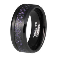 8mm - Unisex or Men's Tungsten Wedding Band. Celtic Wedding Band Black with Purple and Black Resin Inlay Celtic Knot. Tungsten Carbide Ring