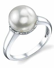 Women's White Pearl Wedding Ring - Genuine Freshwater Cultured Pearl 11-12mm for Women