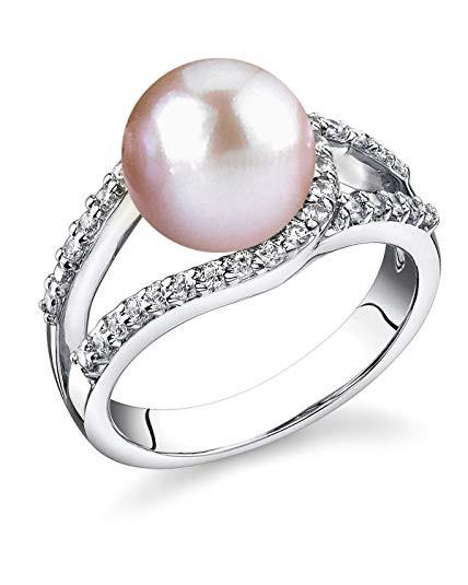 Pearl Wedding Rings: Women's Pink Pearl Wedding Ring