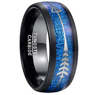 8mm - Unisex or Men's Tungsten Wedding Bands. Black Tone Ring with Cupid's Arrow over Blue Inspired Meteorite Inlay. Tungsten Carbide Domed Top Ring.