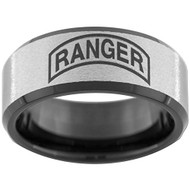 10mm (Wide) - Unisex or Men's U.S. Army Ranger - Tungsten Wedding Band. Military Wedding Bands. Silver with Black Edges and Laser Etched United States Army Ranger Emblem