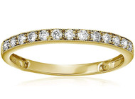 Women's 14K Gold Diamond Wedding Band. Simple Elegant Band - 1/4 CT Milgrain Diamond Wedding Band in 14K Yellow Gold