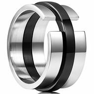 11mm - Unisex or Men's Stainless Steel Wedding Band. Unique Silver with Black Puzzle Lock Style Ring