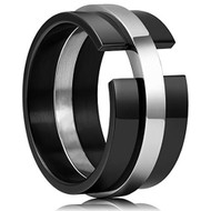 11mm - Unisex or Men's Stainless Steel Wedding Band. Unique Black with Silver Puzzle Lock Style Ring