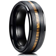 8mm - Unisex or Men's Wedding Tungsten Wedding Band. Black with Centered Koa Wood Slice Inlay. Flat Edged Tungsten Carbide Ring. Comfort Fit Brushed Tungsten Carbide Wedding Ring
