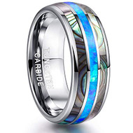 8mm - Unisex or Men's Tungsten Wedding Bands. Silver Tone Multi Color Blue Opal and Rainbow Abalone Shell Inlay Ring (Organic colors)