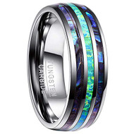 8mm - Unisex or Men's Tungsten Wedding Bands. Silver Tone Multi Color Blue/Green Opal and Rainbow Abalone Shell Inlay Ring (Organic colors)
