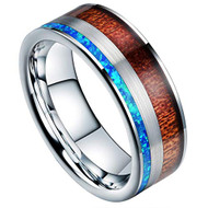 8mm - Unisex or Men's Tungsten Wedding Bands. Silver band with Wood and Blue Opal Inlay Ring