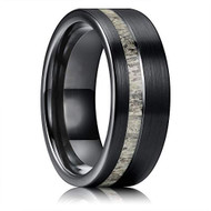 8mm - Unisex or Men's Tungsten Wedding Band. Black with White Antler Inlay Ring. Tungsten Ring Comfort Fit