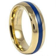 6mm - Unisex, Men's or Women's Tungsten Wedding Bands. Yellow Gold with Blue Epoxy Center. Tungsten Carbide High Polish Ring.