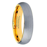 6mm - Unisex or Women's Tungsten Wedding Band. Silver / Gray and Yellow Gold Round Domed Top. Comfort Fit Brushed Wedding Rings