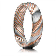 6mm - Unisex, Men's or Women's Damascus Steel Ring Wedding Band. Rose Gold and Silver Tone Grooved with Domed Top and Light Weight.