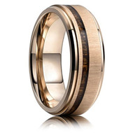 8mm - Unisex or Men's Titanium Wedding Bands. Rose Gold Ring with Thin Striped Dark Wood Inlay. Light Weight Ring.