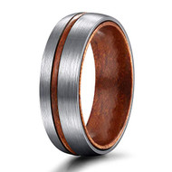 6mm - Unisex or Women's Titanium Wedding Bands. Brushed Silver Tone Ring with Thin Striped Dark Wood Inlay and Smooth Wood Inside Band. Domed Light Weight Ring.