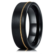 8mm - Unisex or Men's Tungsten Wedding Band. Black Matte Finish Tungsten Carbide Ring with Bronze Wire Inlay