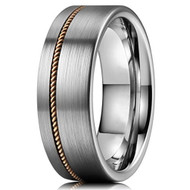 8mm - Unisex or Men's Tungsten Wedding Band. Silver Matte Finish Tungsten Carbide Ring with Bronze Wire Inlay