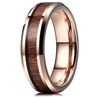 6mm - Unisex or Women's Tungsten Wedding Bands. Wood Inlay and Rose Gold Tone. Tungsten Ring with High Polish Dark Wood Inlay. Beveled Edges