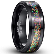 7mm - Unisex or Men's Tungsten Wedding Bands. Black Multi Color Rainbow Opal Inlay Ring (Organic colors)