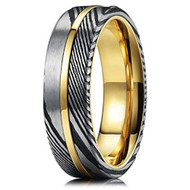 6mm -  Unisex or Women's Real Damascus Steel Silver, Black and 14K Gold Stripe Inlay Wedding Ring - Flat Style