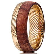 8mm - Unisex or Men's Damascus Steel Ring Wedding Band. 14K Plated Gold and  Half Wood Ring with Matte Top Polished Inner Band