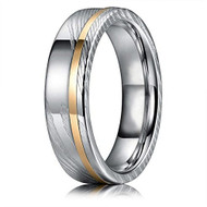 6mm -  Unisex or Women's Real Damascus Steel Silver and 14K Gold Stripe Inlay Wedding Ring - Flat Style
