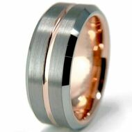 7mm - Unisex or Men's or Women's Tungsten Wedding Band. Rose Gold and Silver Matte Finish Tungsten Carbide Ring. Silver Edges