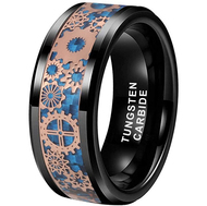 8mm - Unisex or Men's Tungsten Wedding Band. Wedding Band Black with Mechanical Gear Rose Gold Over Blue Carbon Fiber. Tungsten Carbide Ring.