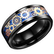8mm - Unisex or Men's Tungsten Wedding Band. Wedding Band Black with Mechanical Gear Gold Over Blue Carbon Fiber. Tungsten Carbide Ring
