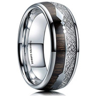 8mm - Unisex or Men's Tungsten Wedding Bands. Silver Tone Cupid's Arrow with Wood and Inspired Silver Color Meteorite Inlay. Tungsten Carbide Domed Top Ring.