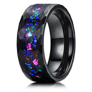 8mm - Unisex or Men's Tungsten Wedding Bands. Diamond Faceted Black Multi Color Rainbow Opal Inlay Ring (Organic colors)