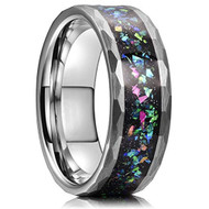 8mm - Unisex or Men's Tungsten Wedding Bands. Diamond Faceted Silver Multi Color Rainbow Opal Inlay Ring (Organic colors)