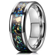 8mm - Unisex or Men's Tungsten Wedding Bands. Silver Multi Color Rainbow Opal Inlay Ring (Organic colors)