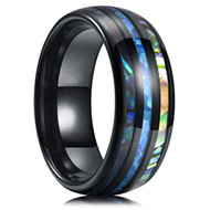 8mm - Unisex or Men's Tungsten Wedding Bands. Black Tone Multi Color Inspired Blue Opal and Rainbow Abalone Shell Inlay Ring (Organic colors)