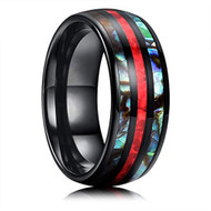 8mm - Unisex or Men's Tungsten Wedding Bands. Black Tone Multi Color Inspired Red Opal and Rainbow Abalone Shell Inlay Ring (Organic colors)