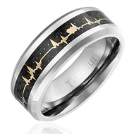 8mm - Unisex or Men's Titanium EKG Heartbeat Wedding Band. Silver Band with Gold Inlay Heart Life-line on Black Carbon Fiber. Light Weight Titanium Comfort Fit Love Ring