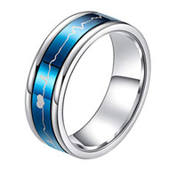 7mm - Unisex, Men's or Women's Stainless Steel Wedding Band. Silver Tone with Blue Rotating Spinner Center Featuring EKG Heart Beat Design