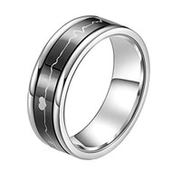 7mm - Unisex, Men's or Women's Stainless Steel Wedding Band. Silver Tone with Black Rotating Spinner Center Featuring EKG Heart Beat Design