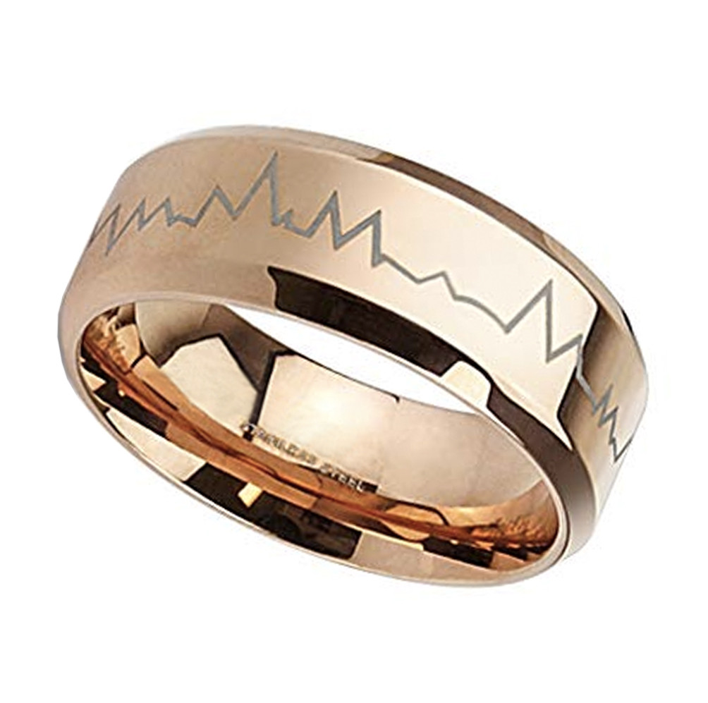Stainless Steel Rose// Pink Gold Color Plated Flower Link Wedding Band Ring