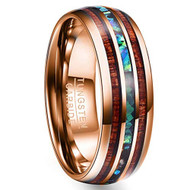 8mm - Unisex or Men's Tungsten Wedding Bands. Rose Gold Tone Multi Color Wood and Rainbow Abalone Shell Inlay Ring (Organic colors)