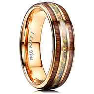 7mm - Unisex, Women's or Men's Tungsten Wedding Bands. Rose Gold Tone Multi Color Wood and Rainbow Opal Inlay Ring with: I LOVE YOU engraved. (Organic colors)
