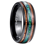 8mm - Unisex or Men's Tungsten Wedding Bands. Black Tone Multi Color Wood and Sea Green Opal Inlay Ring with I LOVE YOU engraved. (Organic colors)