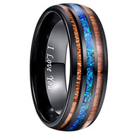 8mm - Unisex or Men's Tungsten Wedding Bands. Black Tone Multi Color Wood and Sea Blue Opal Inlay Ring with I LOVE YOU engraved. (Organic colors)