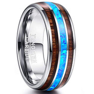 8mm - Unisex or Men's Tungsten Wedding Bands. Silver Tone Multi Color Wood and Sea Blue Opal Inlay Ring. (Organic colors)