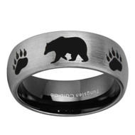 8mm - Unisex or Men's Hunting Ring / Bear Crossing Wedding Band. Brushed Silver Tungsten Band with Bear Walking and Paw Prints Laser Design.  Inner Black Domed Top Hunter's Wedding Band Comfort Fit Ring