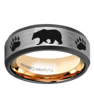 8mm - Unisex or Men's Hunting Ring / Bear Crossing Wedding Band. Brushed Silver Tungsten Band with Bear Walking and Paw Prints Laser Design - Beveled edges and Inner Gold Band. Hunter's Wedding Band Comfort Fit Ring