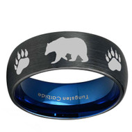 8mm - Unisex or Men's Hunting Ring / Bear Crossing Wedding Band. Black Tungsten Band with Bear Walking and Paw Prints Laser Design.  Inner Blue Domed Top Hunter's Wedding Band Comfort Fit Ring