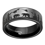 8mm - Unisex or Men's Hunting Ring / Bear Mountain Wedding Band. Brushed Silver Tungsten Band with Bears, Forest and Mountains Laser Design. Inner Black Flat Top Hunter's Wedding Band.