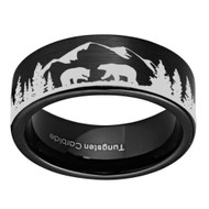 8mm - Unisex or Men's Hunting Ring / Bear Mountain Wedding Band. Black Tungsten Band with Bears, Forest and Mountains Laser Design. Flat Top Hunter's Wedding Band.